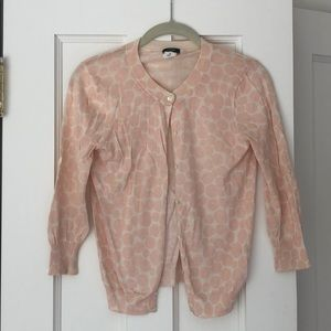 J Crew cotton cardigan, pink/cream dots, size S